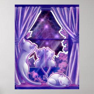 Purple Fireworks Poster