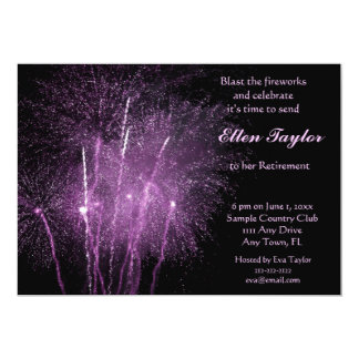 Purple Fireworks Retirement Party Invitation