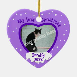 Purple First Christmas Pet or Baby Photo Ornament