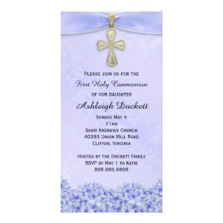 Purple First Holy Communion Religious Invitation