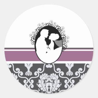 Purple First Kiss Wedding Seal Classic Round Sticker