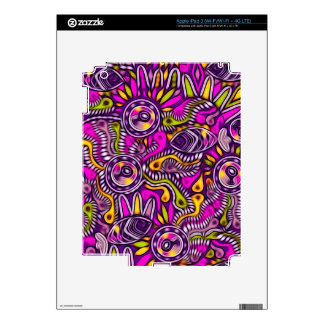 Purple Fish Tribal Pattern Decal For iPad 3
