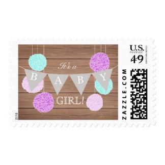 Purple Flags n Fluffs - Baby shower stamp