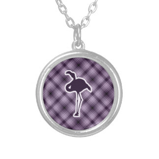 Purple Flamingo Silver Plated Necklace