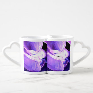Purple Flare Painted Abstract Coffee Mug Set