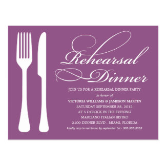 PURPLE FLATWARE | REHEARSAL DINNER INVITE POSTCARD