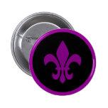 Purple Fleur de Lis 2 Inch Round Button