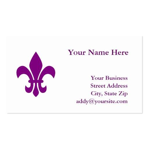 Purple Fleur de Lis Business Card Template