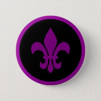 Purple Fleur de Lis Button