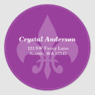 Purple Fleur-De-Lis Custom Address Label