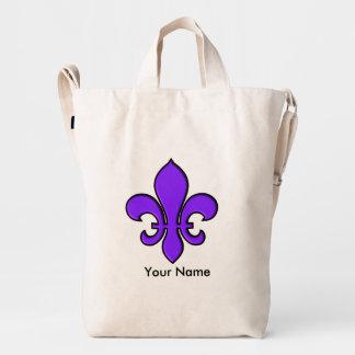 Purple Fleur de Lis Duck Bag