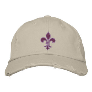 Purple Fleur de Lis Embroidered Hat