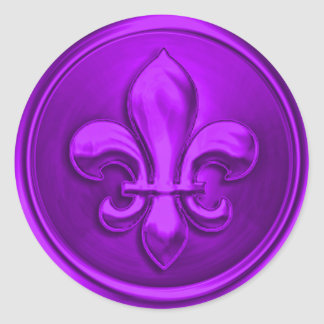Purple Fleur de Lis Envelope Seal Embossed Look Stickers