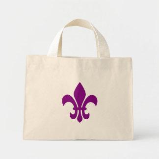 Purple Fleur de Lis Mini Tote Bag
