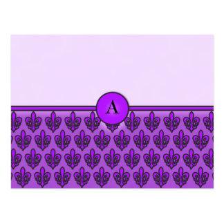 Purple Fleur de Lis Monogrammable Postcard