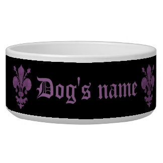 Purple fleur de lis on black bowl