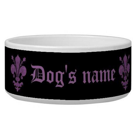 Purple fleur de lis on black bowl