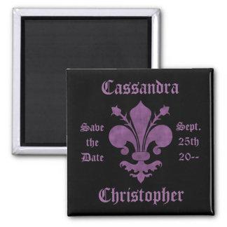 Purple fleur de lis on black save the date wedding 2 inch square magnet