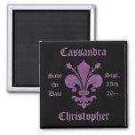 Purple fleur de lis on black save the date wedding magnets