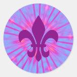 Purple Fleur de Lis Round Sticker