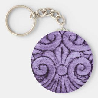 Purple Fleur de Lis Scrolls Carving Design Keychain