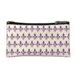 Purple Fleur de lys Floral Cornsilk Cosmetic Bag at Zazzle