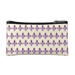 Purple Fleur De Lys Floral Cornsilk Cosmetic Bag at Zazzle
