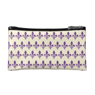 Purple Fleur de lys Floral Cornsilk Cosmetic Bag