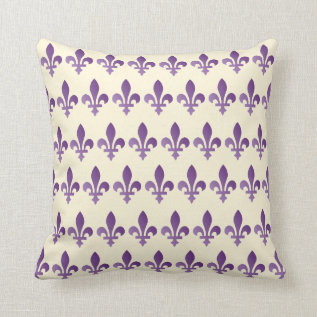 Purple Fleur De Lys Floral Cornsilk Throw Pillow at Zazzle