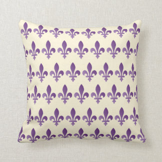 Purple Fleur de lys Floral Cornsilk Throw Pillow