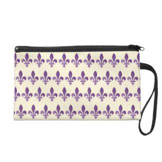 Purple Fleur de lys Floral on Cornsilk Wristlet