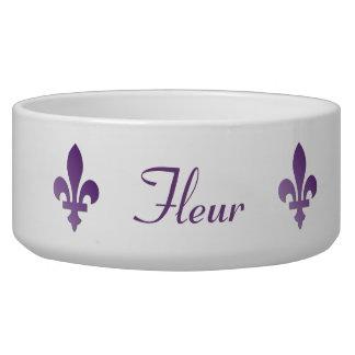 Purple Fleur-de-lys French Francophone Pet Dish Dog Bowl