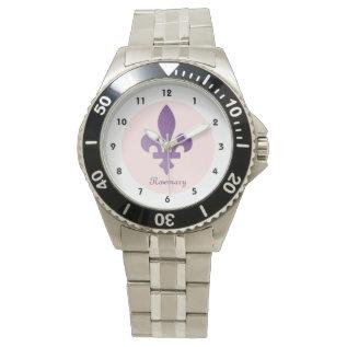 Purple Fleur-de-lys On Coral On Classic Wristwatch at Zazzle