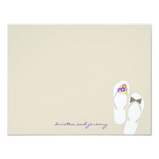 Purple Flip Flops Beach Wedding Thank You Card