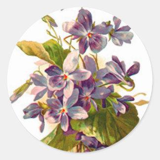 Purple Flora Classic Round Sticker