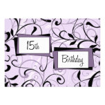 Purple Floral 15th Birthday Party Invitation Cards