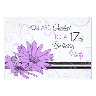 Purple Floral 17th Birthday Party Invitation Cards