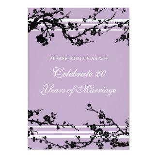 Purple Floral 20th Anniversary Party Invitation