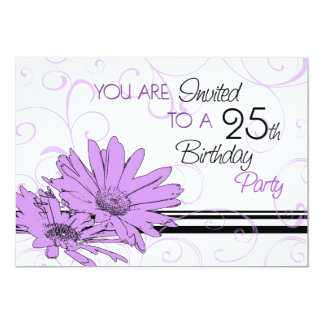 Purple Floral 25th Birthday Party Invitation Cards