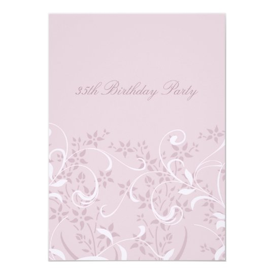 Purple Floral 35th Birthday Party Invitations