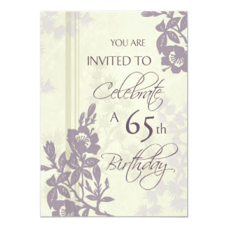 Purple Floral 65th Birthday Party Invitation Cards