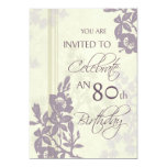 Purple Floral 80th Birthday Party Invitation Cards
