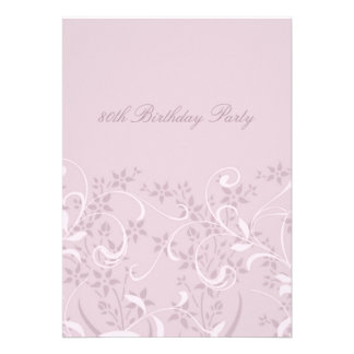 Purple Floral 80th Birthday Party Invitations
