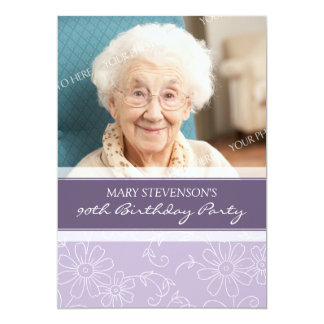 "Purple Floral 90th Birthday Party Invitations 5"" X 7"" Invitation Card"
