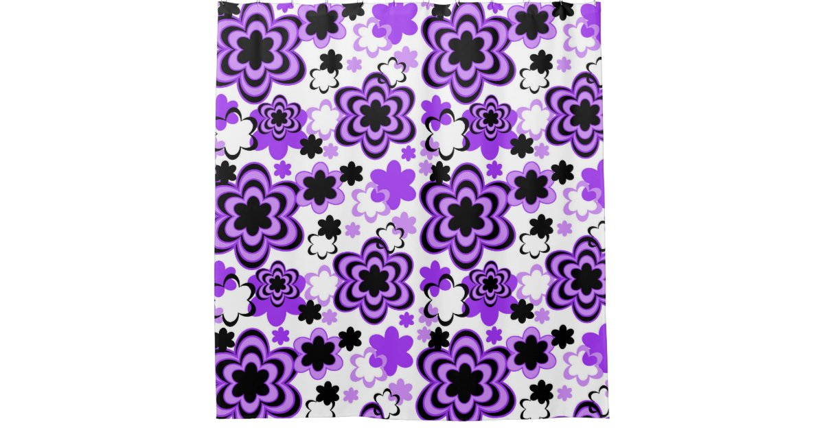 Purple Floral Abstract Teen Girl Shower Curtain Zazzle