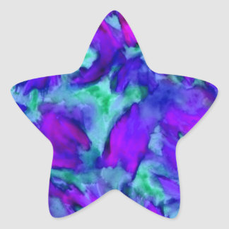 Purple Floral Abstract Watercolor Designer Beauty Star Sticker