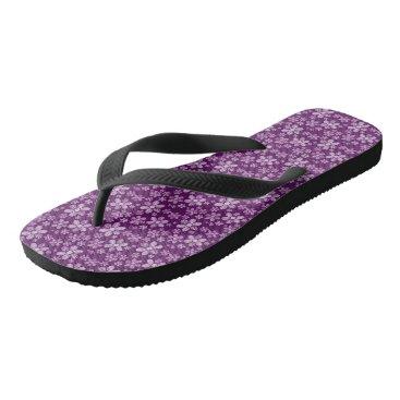 Beach Themed Purple Floral Adult, Wide Straps Flip Flops