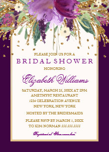purple floral amethyst bridal shower invitation