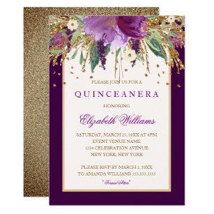 purple quinceañera invitations zazzle