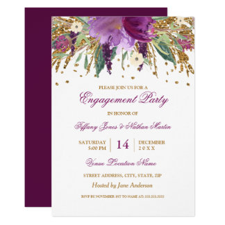 Purple Floral Amethyst Wedding Engagement Party Card
